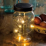 Micro light Mason Jars - Mason Jars--with a battery operated string of lights.